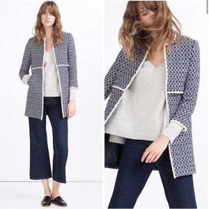 Zara That Coat Blue Textured Tweed Jacket